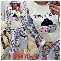 Махровая женская пижама на зиму Турция