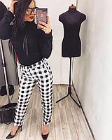 Женские стильные брюки принт клеточка
