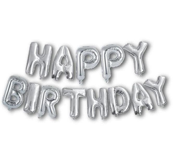 Фольгированные шары буквы HAPPY BIRTHDAY серебро, высота 40 см