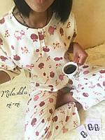 Женская теплая пижамка с совами белого цвета. Ткань: байка. Размер: см,мл.