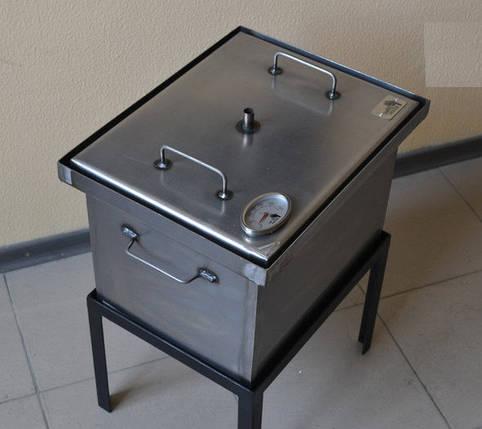 Коптильня черный металл 400х300х280 с термометром, фото 2