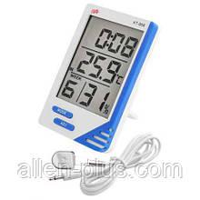 Термометр-гигрометр цифровой KT 908 (с часами, будильником, календарём и выносным датчиком)