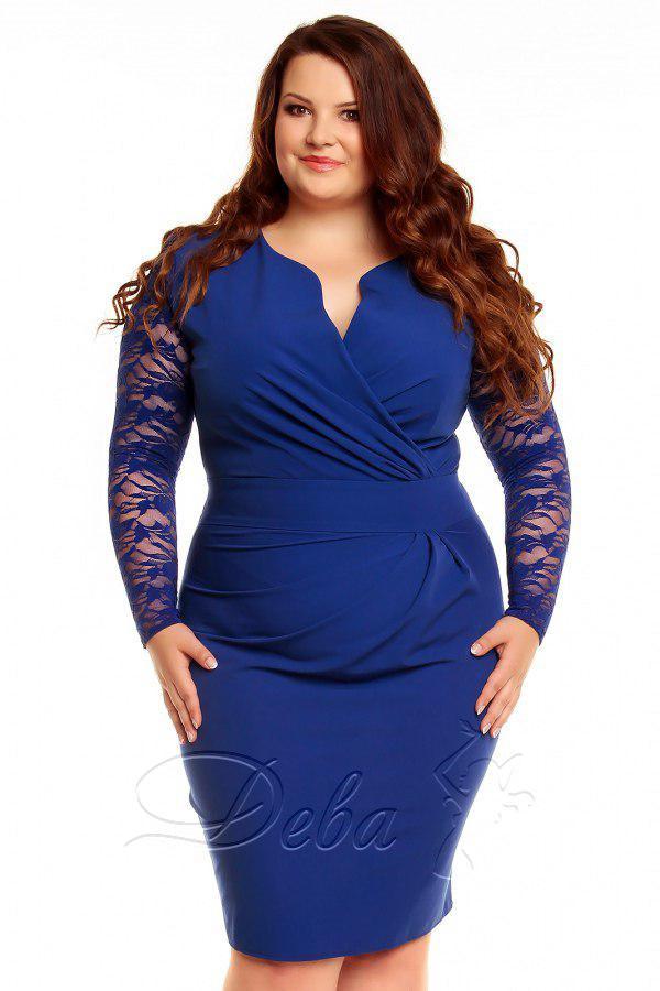 Синее платье больших размеров с гипюровыми рукавами, декольте на запах код 177/8698