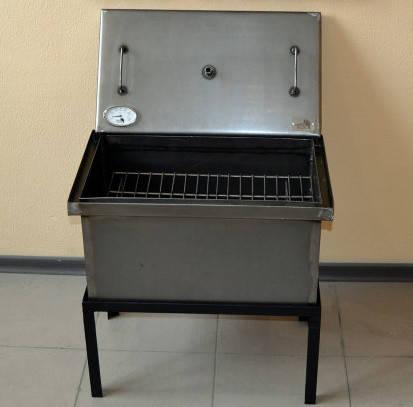 Коптильня черный металл 520х300х280 с термометром, фото 2