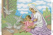 Схема для вышивки бисером Мария и младенец Иисус с голубями