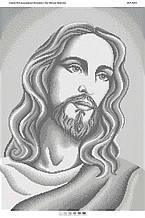 Схема для вышивки бисером Лик Иисуса Христа (серебро)