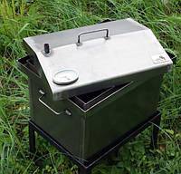 Коптильня черный металл 520х300х310 домик с термометром
