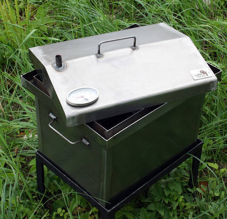 Коптильня черный металл 520х300х310 домик с термометром, фото 2