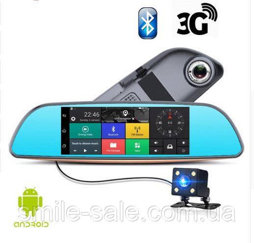 """Автомобильный Регистратор зеркало K35 7"""" сенсор, 2 камеры, GPS+ WiFi, 8Gb, Android, 3G + ПОЛНЫЙ ОБЗО, фото 1"""