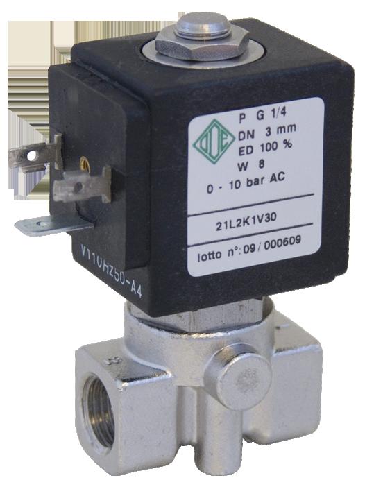 Клапан электромагнитный нержавеющий 21L2K1T40 (ODE, Italy), G 1/4