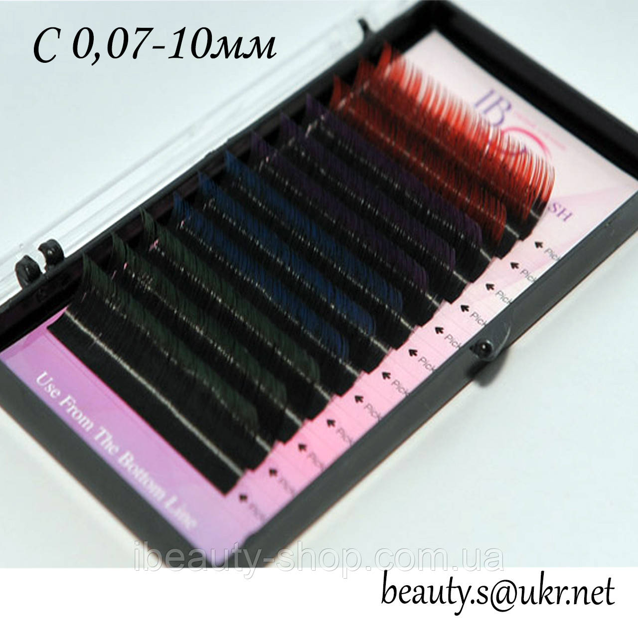 Ресницы I-Beauty, С 0,07-10мм,цветные концы,4 цвета