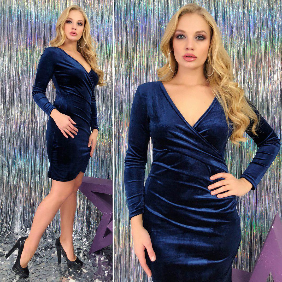 Короткое бархатное платье больших размеров 48+ на запах / 3 цвета арт 3686-179