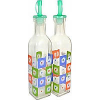 """Набор бутылок масло / уксус (2шт) """"Цветы"""" с гейзером 300мл 1855 / Empire / (24)"""