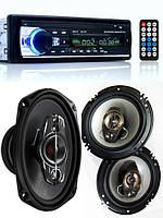 Крутой Бюджетный набор Авто-Звука с Магнитолой Pioneer JSD520 + овалы + круглые 16 см!, фото 1