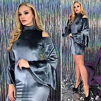 Бархатное платье больших размеров 48+ с расклешенным рукавом / 2 цвета арт 3687-179