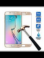 Защитное стекло 0.3 mm с изогнутыми краями для Samsung Galaxy S6 edge золотой , фото 1