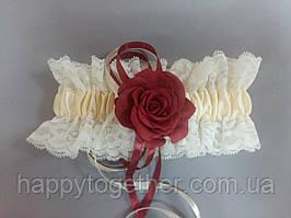 Свадебная подвязка Роза бардо