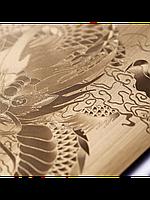 Защитное стекло с рисунком дракона на 2 стороны для Iphone 5/5S золото, фото 1