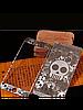 Защитное стекло с рисунком черепа на 2 стороны для Iphone 5/5S серебро