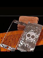 Защитное стекло с рисунком черепа на 2 стороны для Iphone 5/5S серебро, фото 1