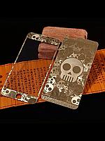 Защитное стекло с рисунком черепа на 2 стороны для Iphone 5/5S золото, фото 1