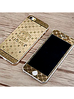 Защитное стекло с рисунком шанель на 2 стороны для Iphone 5/5S золото