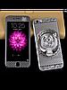 Защитное стекло с рисунком тигра на 2 стороны для Iphone 5/5S серебро