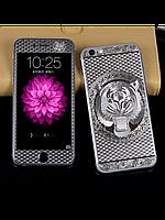 Защитное стекло с рисунком тигра на 2 стороны для Iphone 5/5S серебро, фото 1