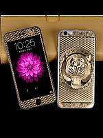 Защитное стекло с рисунком тигра на 2 стороны для Iphone 5/5S золото, фото 1