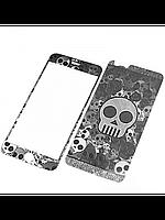 Защитное стекло с рисунком черепа на 2 стороны для Iphone 6/6S серебро