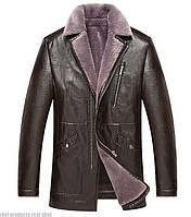 Куртка зимняя с натуральной кожи на овчине. Мех текстура каракуля.