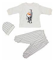 Комплект ясельный Armani Boy (ползуны, кофточка, чепчик) (56, 62,68 см) Турция
