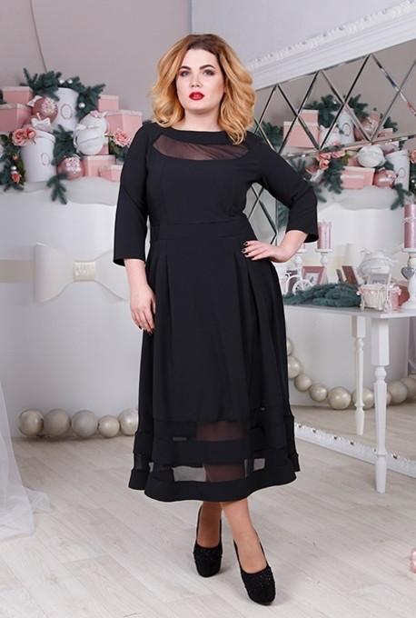 37d605f354ad8ad Платье большого размера с укороченным рукавом 3/4 (три четверти) из  габардина с
