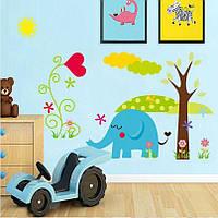 Наклейка «Слоники» для детской комнаты