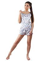Модная женская пижама из атласа в сердечки (S-L)