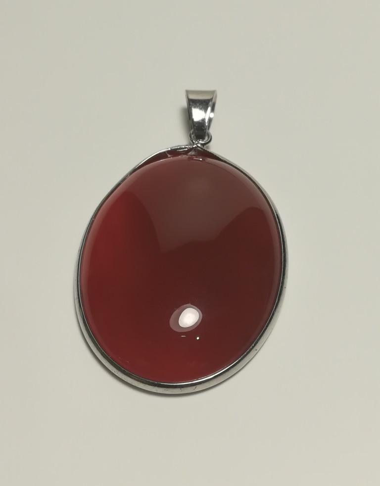 Кулон из Сердолика натуральный камень, большой медальон (без цепочки), тм Satori