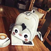 Рюкзак детский городской из эко кожи для девочек Пингвин (серый)
