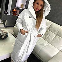 Длинное женское плащевое пальто на зиму теплое 15588JP