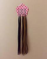 Цветные пряди для волос на невидимках 35 см. - 6 шт.