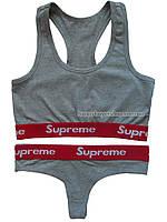 Комплект женского нижнего белья Supreme топ и стринги серый размер М