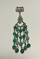 Кулон Агатовый зеленый, натуральный камень, подвеска (без цепочки)