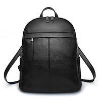 Рюкзак женский городской из эко кожи с горизонтальным карманом (черный)