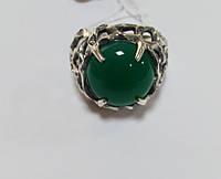 Кольцо серебряное черненное с нефритом и цирконием Семейный очаг