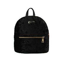 Рюкзак мини женский бархатный для девушек, девочек (черный)
