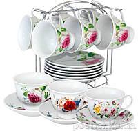 """Сервиз чайный 12предм.  """"Цветы"""" на стойке 021-12-01"""