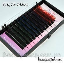 Ресницы I-Beauty, С 0,15-14мм,цветные концы,4 цвета