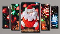 Картина модульная HolstArt Санта-Клаус новогодняя 55*101 см 5 модулей арт.HAB-088