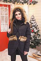 Женская стильная куртка с меховыми карманами С М L +большие размеры