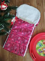 Зимний конверт-чехол в санки и коляску на овчине, красно-розовый принт
