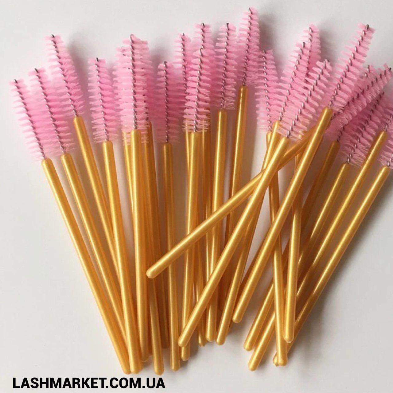 Щеточки для расчесывания ресниц и бровей, нежно розовая на золотой ножке, 10 шт